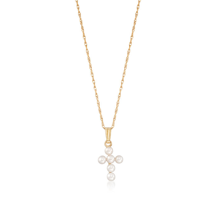 "Child's 2.5-3mm Cultured Pearl Cross Pendant Necklace in 14kt Yellow Gold. 15"", , default"