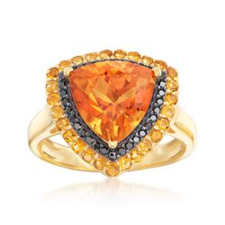 4.10 ct. t.w. Madeira and Yellow Citrine and .20 ct. t.w. Black Spinel Ring in 18kt Gold Over Sterling, , default