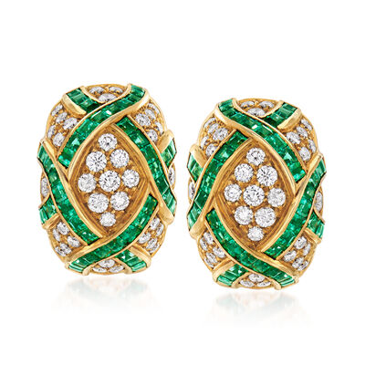 C. 1980 Vintage 6.00 ct. t.w. Emerald and 2.45 ct. t.w. Diamond Crisscross Clip-On Earrings in 18kt Yellow Gold, , default