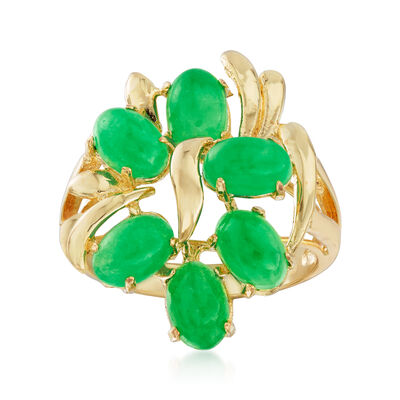 C. 1970 Vintage 6x4mm Green Jade Ring in 14kt Yellow Gold, , default