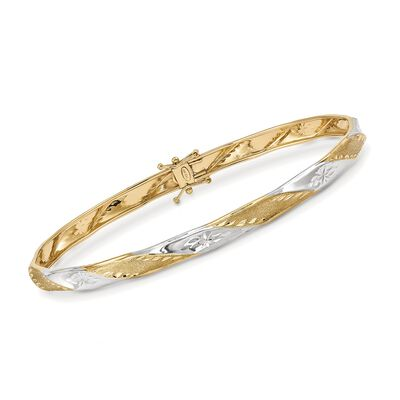 14kt Two-Tone Gold Diamond-Cut and Polished Twist Bangle Bracelet, , default