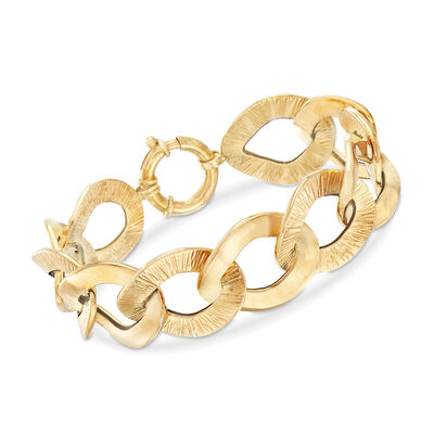 Italian 14kt Yellow Gold Textured and Polished Large Link Bracelet, , default