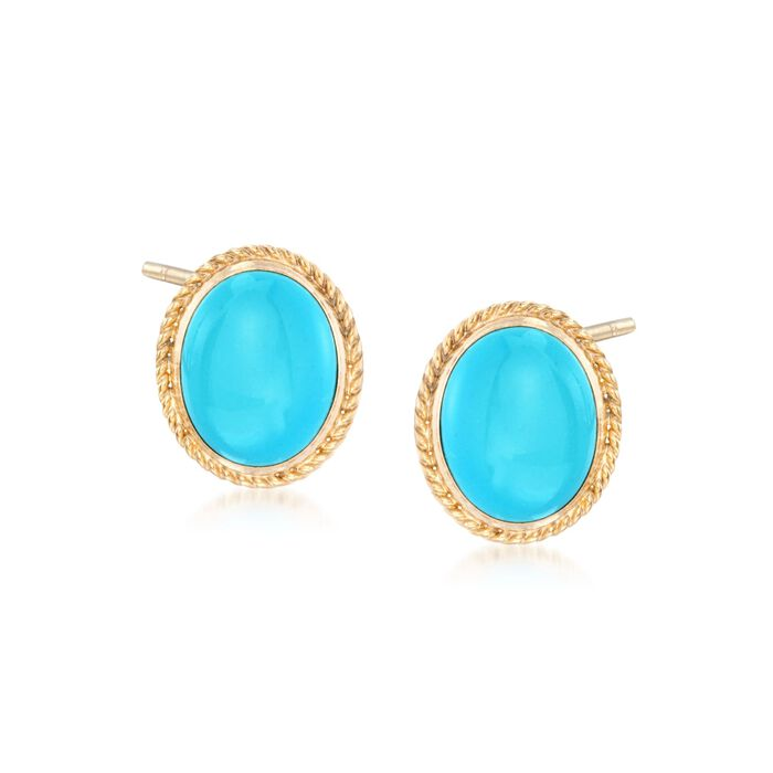 Oval Turquoise Earrings in 14kt Yellow Gold