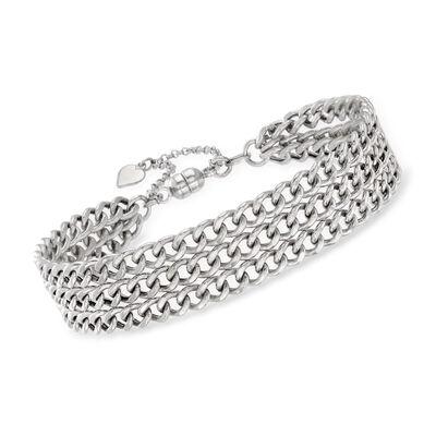 Italian Sterling Silver Triple-Strand Curb-Link Bracelet