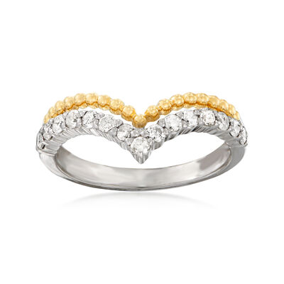.50 ct. t.w. Diamond Beaded Chevron Ring in Sterling Silver and 14kt Yellow Gold