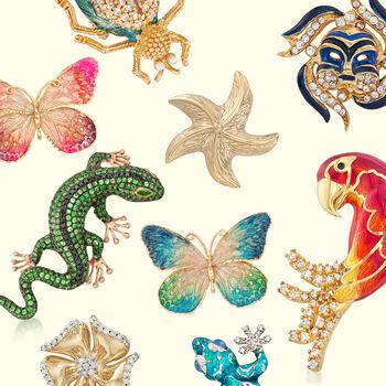 4.91 ct. t.w. Tsavorite and .39 ct. t.w. Black Diamond Lizard Pin Pendant in 18kt Rose Gold , , default