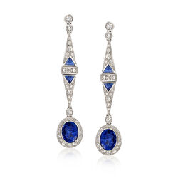 C. 2000 Vintage 2.40 ct. t.w. Sapphire and 1.90 ct. t.w. Diamond Drop Earrings in 18kt White Gold, , default