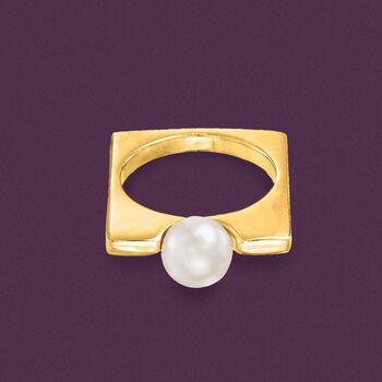 Italian 8mm Cultured Pearl Squared Ring in 22kt Yellow Gold Over Sterling