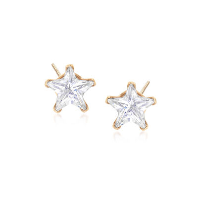 3.00 ct. t.w. CZ Star Stud Earrings in 14kt Yellow Gold, , default