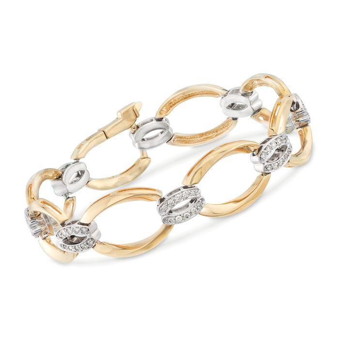 """.75 ct. t.w. Diamond Oval-Link Bracelet in 14kt Two-Tone Gold. 7"""", , default"""
