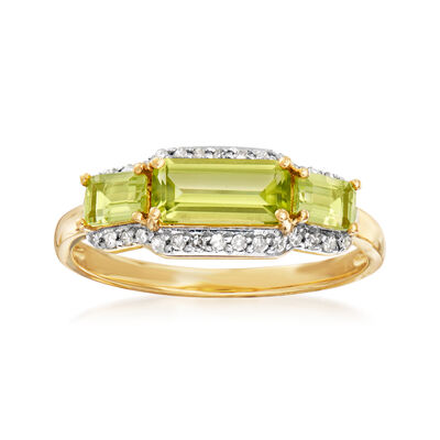 1.30 ct. t.w. Peridot and .13 ct. t.w. Diamond Ring in 14kt Yellow Gold