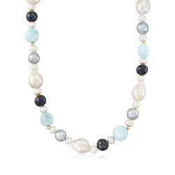 6-12mm Multicolored Cultured Pearl and Milky Aquamarine Bead Necklace With 14kt Yellow Gold, , default