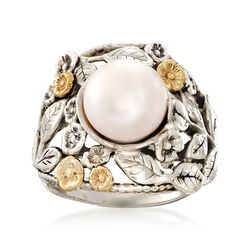 10mm Cultured Button Pearl Floral Ring in Sterling Silver and 14kt Yellow Gold, , default