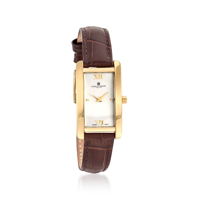 Charles Hubert Women's 30mm Stainless Steel and Gold Plate Watch with Brown Leather Strap, , default