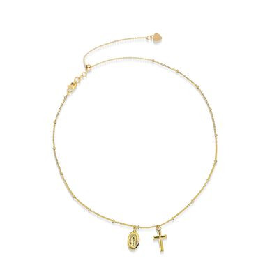14kt Yellow Gold Cross and Miraculous Medal Choker Necklace, , default
