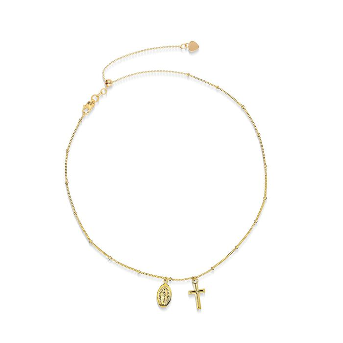 14kt Yellow Gold Cross and Miraculous Medal Choker Necklace , , default