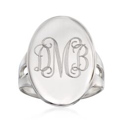 Sterling Silver Monogram Signet Ring. Size 5, , default