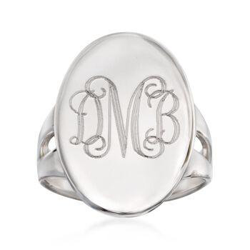 Sterling Silver Monogram Signet Ring. Size 5, , default