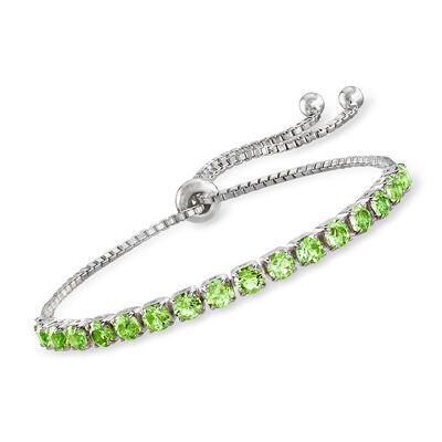 Swarovski Crystal Green Bolo Bracelet in Sterling Silver, , default