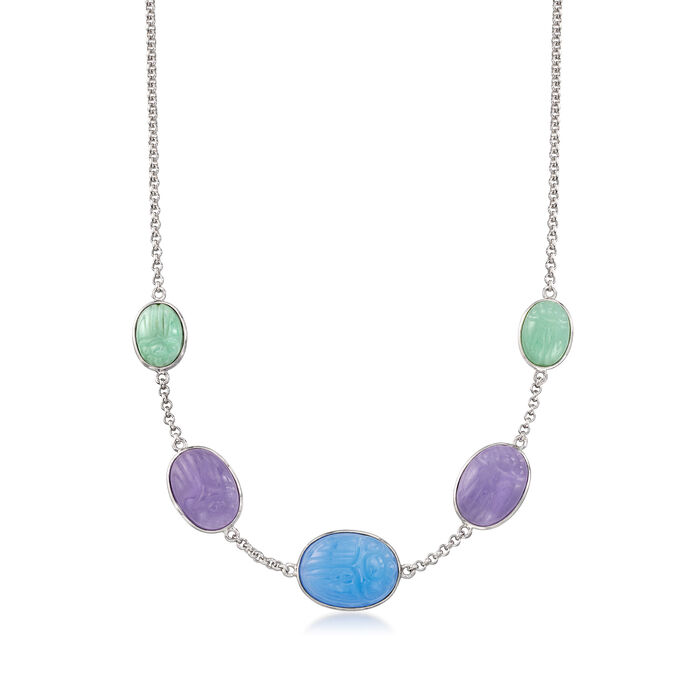 Multicolored Jade Scarab Station Necklace in Sterling Silver. 18""
