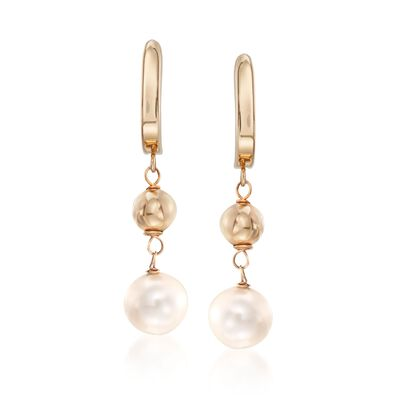 8-8.5mm Cultured Pearl and Polished Bead Drop Earrings in 14kt Yellow Gold, , default