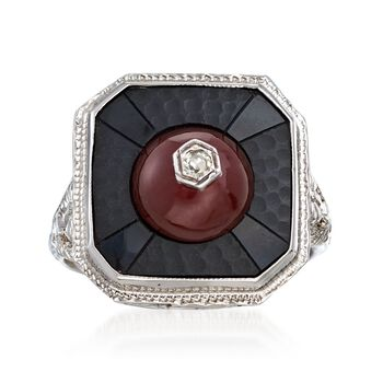 C. 1950 Vintage Black Onyx and Carnelian Ring With Diamond Accents in 18kt White Gold. Size 5.75, , default