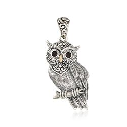 Sterling Silver Owl Pendant With Black Onyx, , default