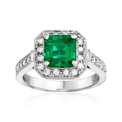 C. 1990 Vintage 2.00 Carat Emerald and .55 ct. t.w. Diamond Border Ring in 14kt White Gold, , default