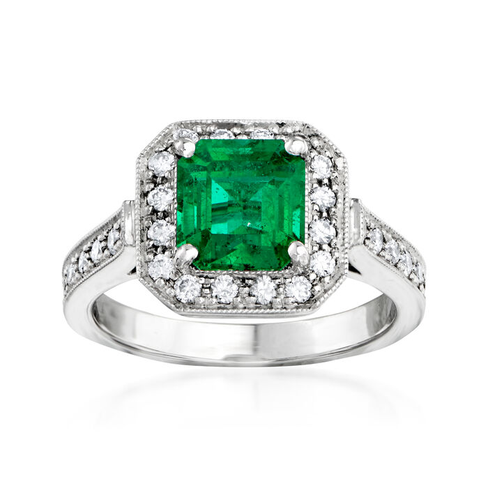 C. 1990 Vintage 2.00 Carat Emerald and .55 ct. t.w. Diamond Border Ring in 14kt White Gold. Size 6.5