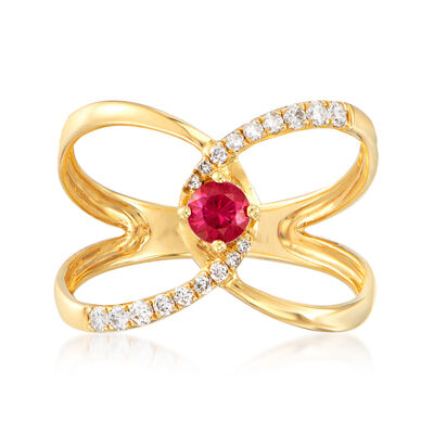 .30 Carat Ruby and .18 ct. t.w. Diamond Ring in 18kt Yellow Gold