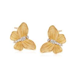 Simon G. .10 ct. t.w. Diamond Butterfly Earrings in 18kt Yellow Gold, , default