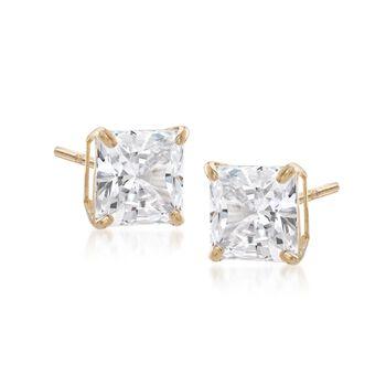 3.00 ct. t.w. Princess-Cut CZ Stud Earrings in 14kt Yellow Gold , , default