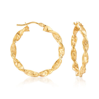 Italian 18kt Yellow Gold Greek Key Hoop Earrings, , default