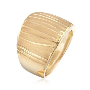 Italian 18kt Yellow Gold Wide Ripple Ring