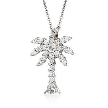 "Roberto Coin ""Tiny Treasures"" .54 ct. t.w. Diamond Palm Tree Necklace in 18kt White Gold. 18"", , default"
