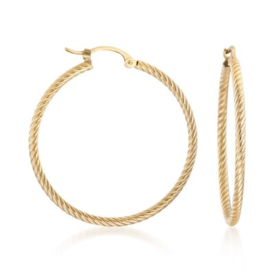 14kt Yellow Gold Roped Hoop Earrings, , default