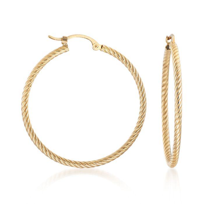 14kt Yellow Gold Roped Hoop Earrings. <span class='nowrap'>1 3/16&quot;</span>