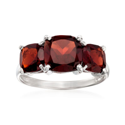 4.50 ct. t.w. Three-Stone Garnet Ring in Sterling Silver, , default