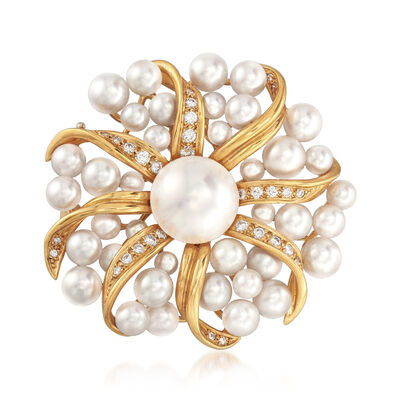 C. 1980 Vintage Tiffany Jewelry Mabe and Cultured Pearl and .45 ct. t.w. Diamond Sunburst Pin in 18kt Gold, , default
