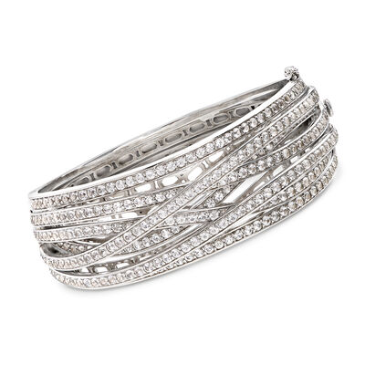 8.25 ct. t.w. White Topaz Highway Bangle Bracelet in Sterling Silver, , default
