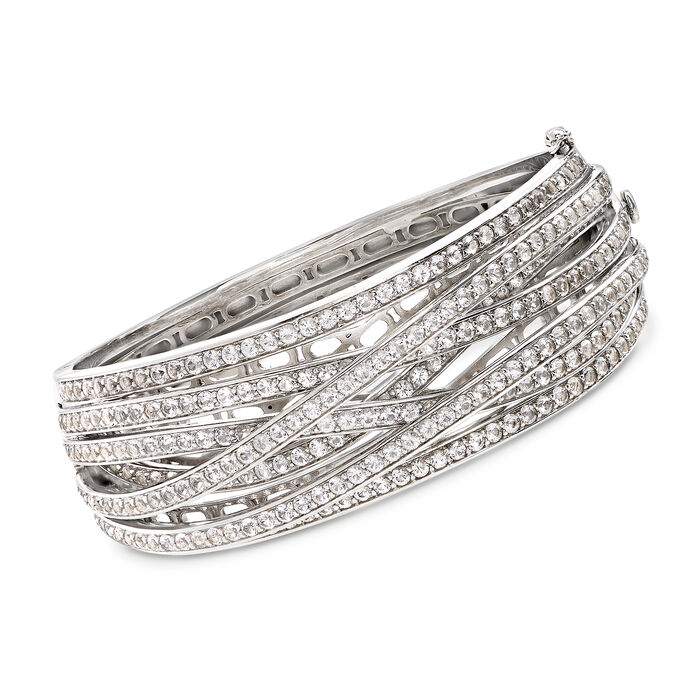 "8.25 ct. t.w. White Topaz Highway Bangle Bracelet in Sterling Silver. 8"", , default"