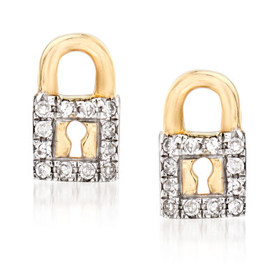 Lock Earrings with Diamond Accents in 14kt Yellow Gold