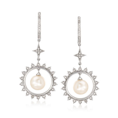 7.5-8mm Cultured Pearl and .20 ct. t.w. Diamond Star Drop Earrings in Sterling Silver