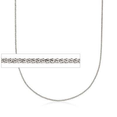1mm 14kt White Gold Adjustable Wheat Chain Necklace, , default