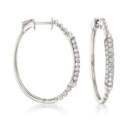 "1.00 ct. t.w. Pave Diamond Beaded Oval Hoop Earrings in 14kt White Gold. 1 1/8"", , default"