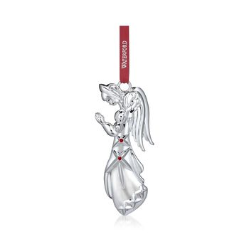 Waterford 2017 Annual Silverplate Angel Ornament With Red Crystals, , default