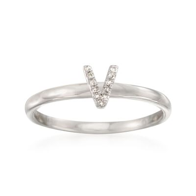 "Diamond Accent Mini Initial ""V"" Ring in Sterling Silver, , default"