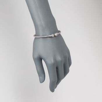 """Charles Garnier """"Perla"""" 7mm Cultured Pearl and .10 ct. t.w. CZ Cuff Bracelet in Sterling Silver. 7"""", , default"""