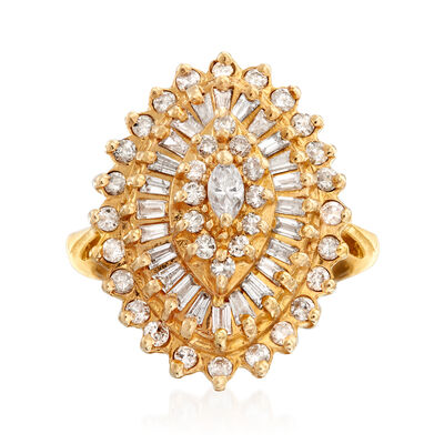 C. 1990 Vintage 1.03 ct. t.w. Diamond Cluster Ring in 14kt Yellow Gold, , default