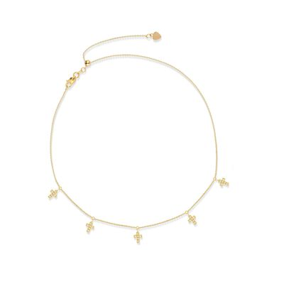 .15 ct. t.w. CZ Multi-Cross Choker Necklace in 14kt Yellow Gold